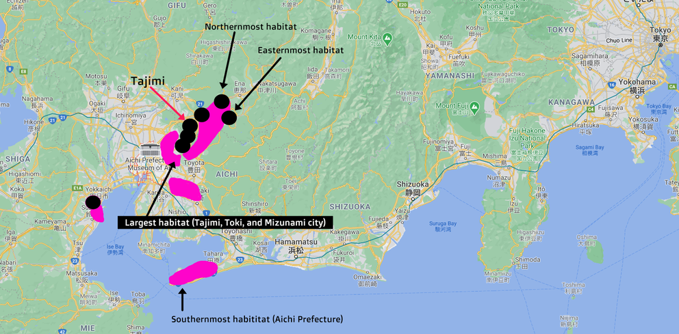 Map of Shidekobushi habitats in Japan